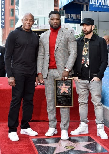 50 Cent with Dr. Dre and Eminem